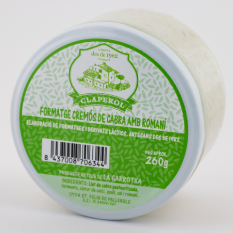 formatge cremós de cabra amb romaní
